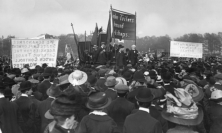Keir Hardie addresses a tailors' rally in Hyde Park