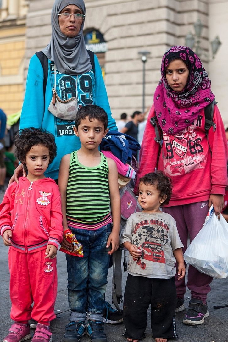 Mary Al Aboud, 33, and her children (left to right) Jena, four, Muhammad, five, Rua, two, and Nada 10