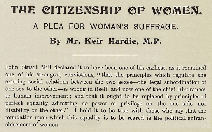 The Citizenship of Women A plea for Woman's Suffrage', by Keir Hardie MP, 1905