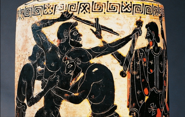 A 5th-century B.C. vase depicting heroes fighting over Achilles' weapons