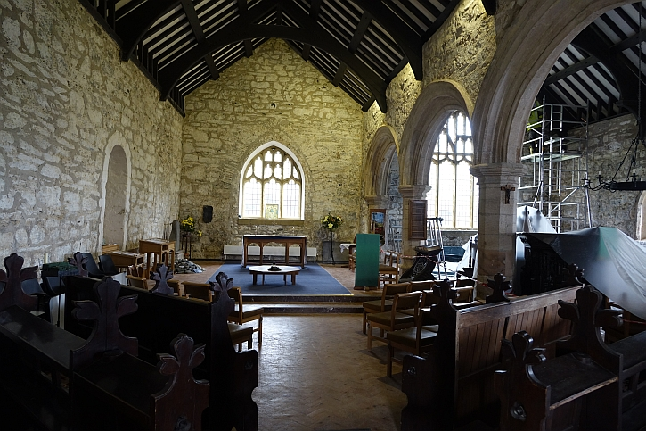 Aberdaron church: the original Norman nave