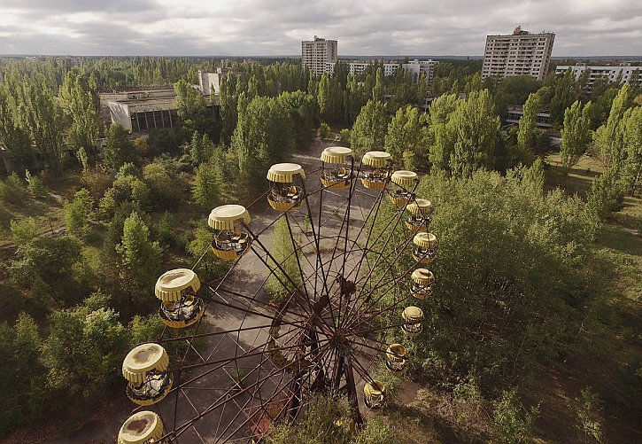 An amusement park in Pripyat, abandoned after Chernobyl and reclaimed by nature