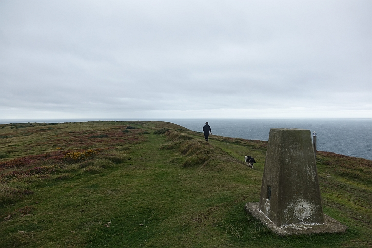 The trig point on Mynydd Cilan