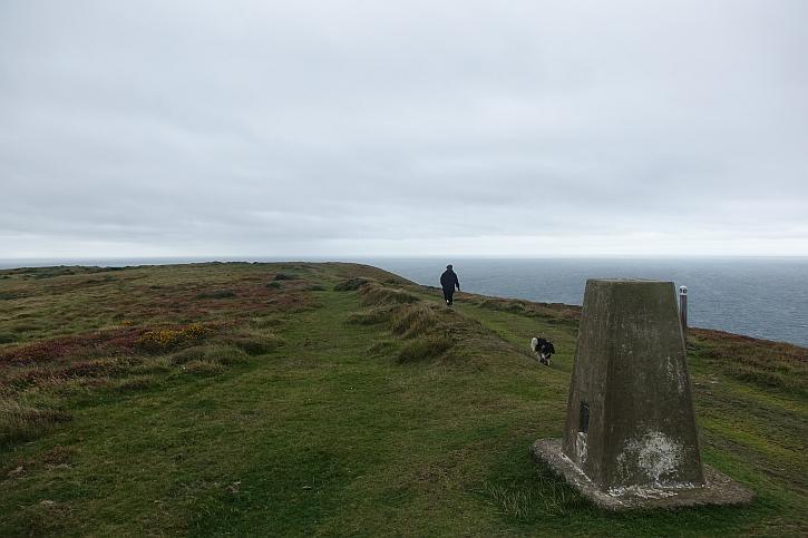 The trig point on Mynydd Cilan