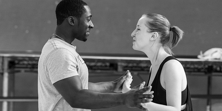 Erin Doherty and Eric Kofi Abrefa in rehearsal for The Glass Menagerie (photo by Manuel Harlan)