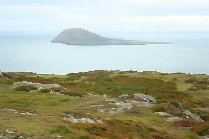 Watercolour effect: Bardsey Island from Mynydd Mawr