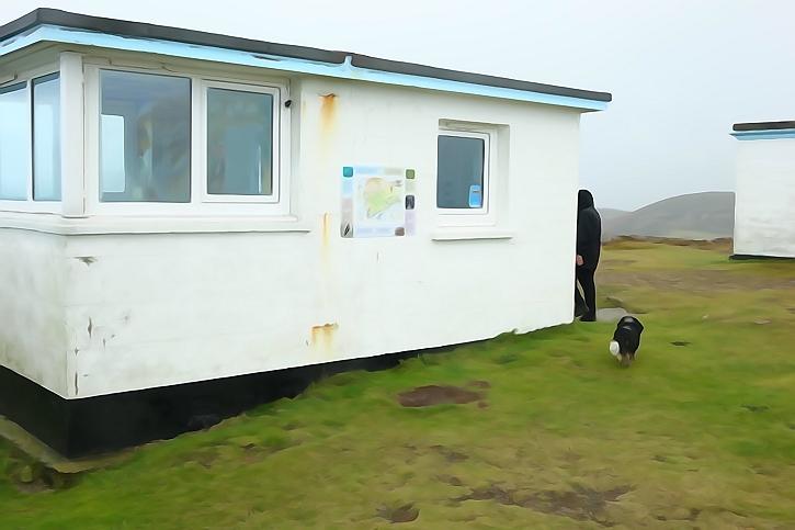 Watercolour effect: the coastguard lookout on Mynydd Mawr