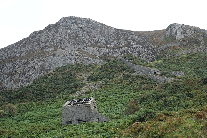 Remains of quarry building and tram incline at Nant Gwrtheryn