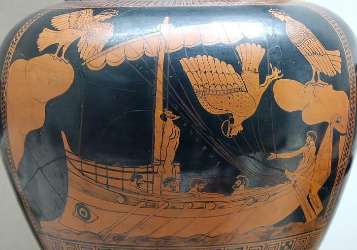 Odysseus and the Sirens, vase ca. 480-470 BC (British Museum)