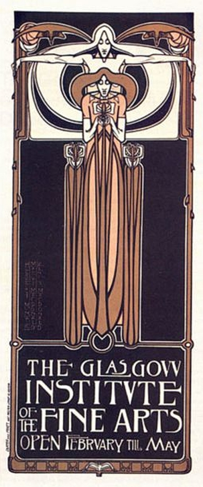 Herbert McNair, Margaret Macdonald and Frances Macdonald poster for Glasgow Institute of Fine Arts, 1895