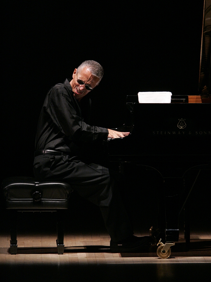 Keith Jarrett photographed during a solo performance at Carnegie Hall