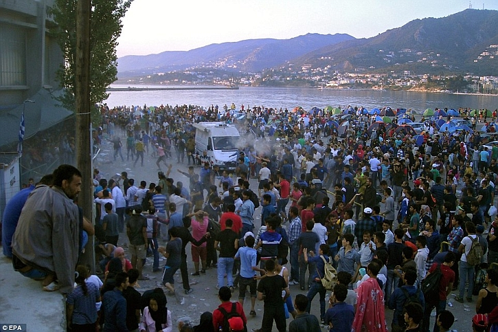 Refugees on the island of t Lesbos