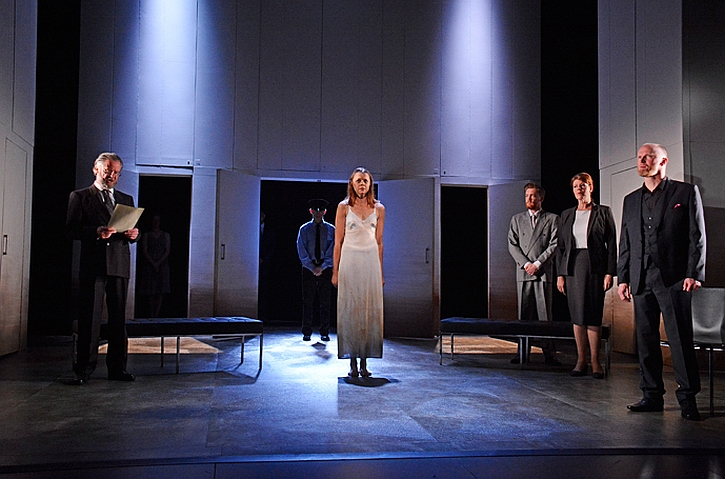 The trial of Hermione (Hannah Barrie as Hermione, Ruth Alexander as Paulina and Conrad Nelson as Leontes)