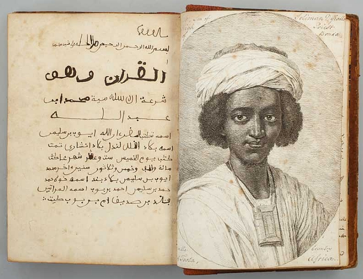 A qu'ran written by Ayuba Suleiman Diallo featuring his portrait, 1734