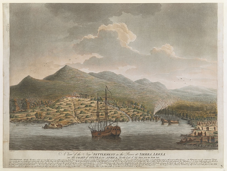 A view of the new settlement in the river at Sierra Leone, London, 1790