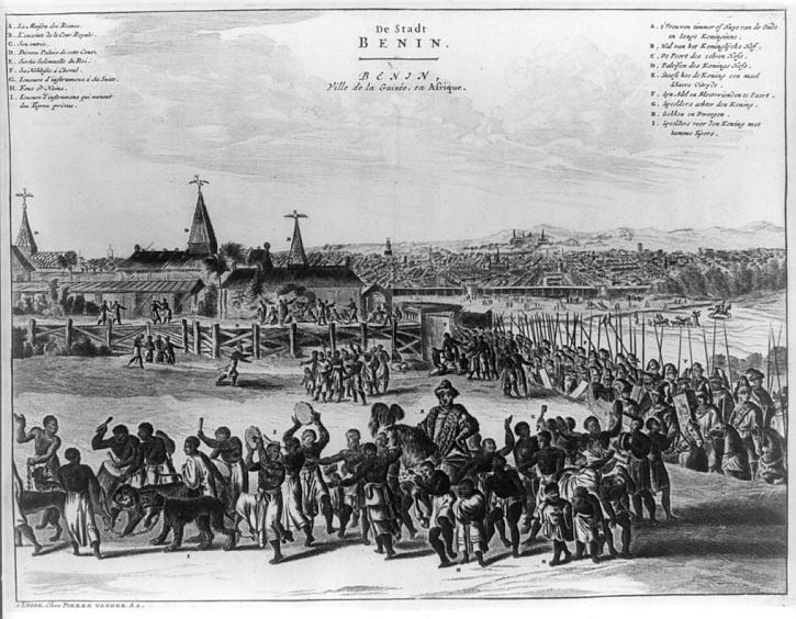 Benin city in the 17th century, Description de l'Afrique, Amsterdam, 1686
