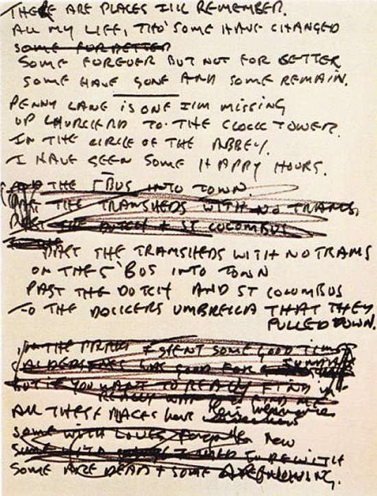 John's draft lyrics for 'In My Life'