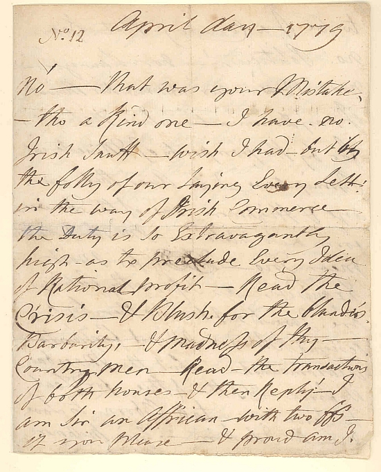 Letter from Ignatius Sancho to William Stevenson, April 1779