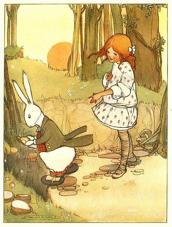 Mabel Lucie Attwell, illustration for Alice in Wonderland, 1911