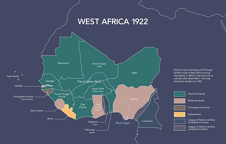 Map of colonial rule in West Africa, 1922