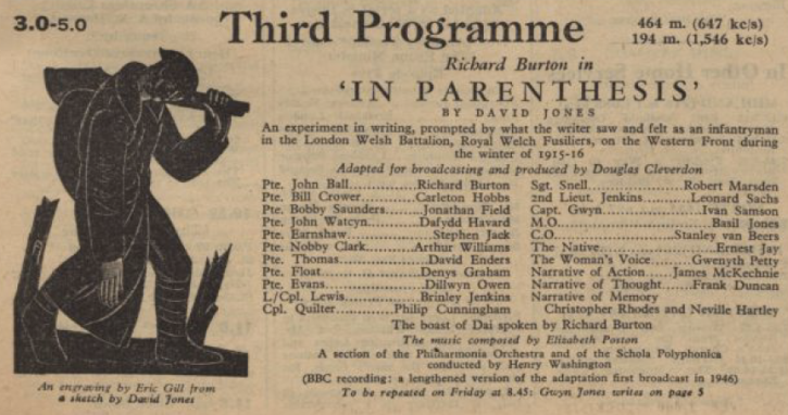 Third Programme, In Parenthesis, 1955