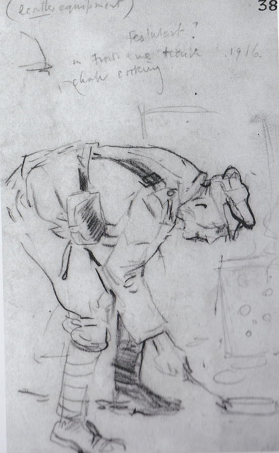 Trench sketch, 'Soldier in front-line trench, 1916, chap cooking'