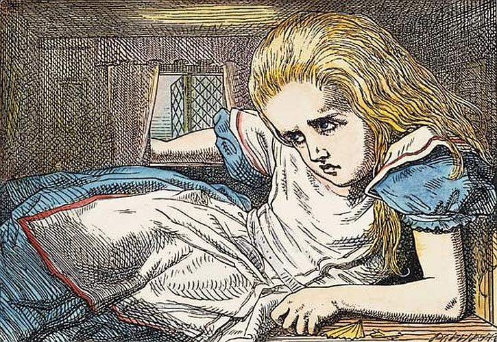 Alice growing, illustration by John Tenniel