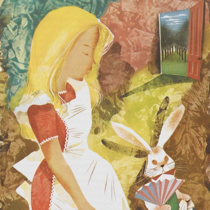 Alice with the White Rabbit from an illustrated edition of Alice's Adventures in Wonderland by Leonard Weisgard (1949)