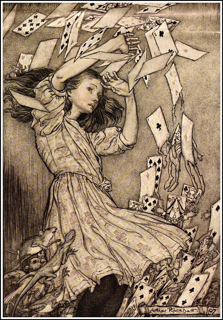 Arthur Rackham, Alice's Adventures in Wonderland - At this the whole pack rose up into the air and came flying down upon her, 1907