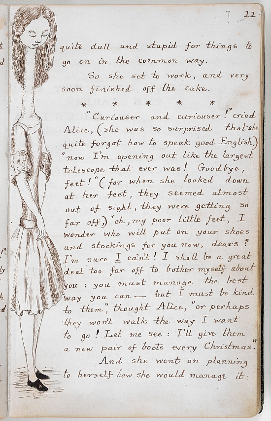 Charles Dodgson, 'Alice's Adventures Under Ground' manuscript, 1862-64, 'curiouser and curiouser'