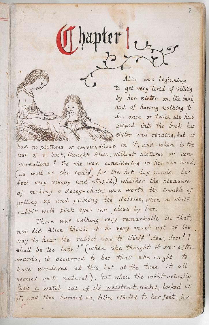 Charles Dodgson, 'Alice's Adventures Under Ground' manuscript, 1862-64