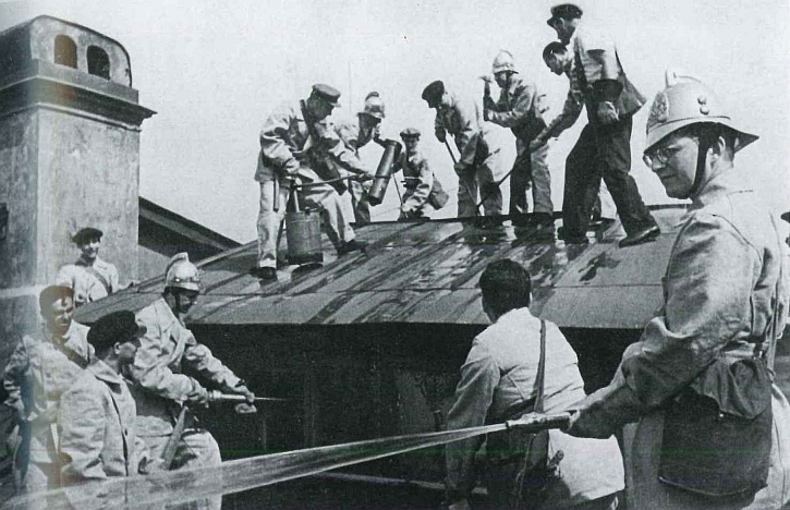 Dmitri Shostakovich working as a fireman in Leningrad, 1941