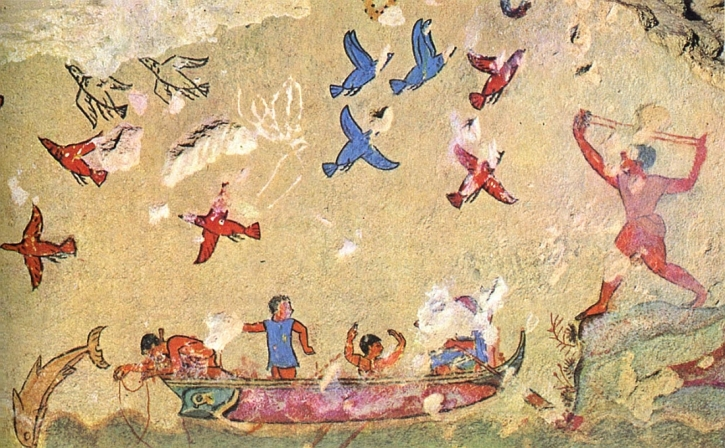 Hunting and fishing. 6th century BCE. Tarquinia, Tomb of the Hunting and Fishing