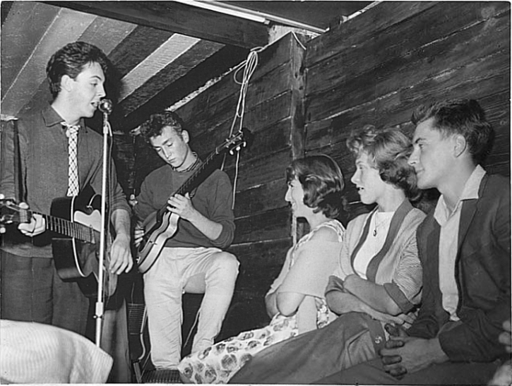 Paul and John, The Quarrymen at the Casbah in West Derby village, 29 August 1959
