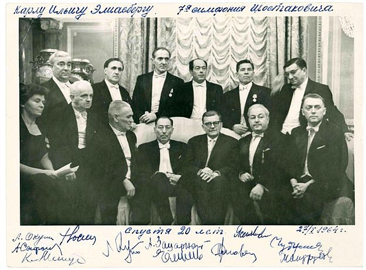 Shostakovich meets Eliasberg and players at a 20th anniversary performance in 1964