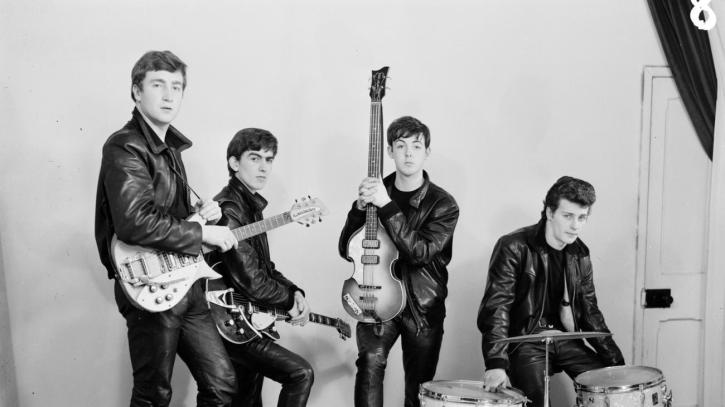 The Beatles in leather suits