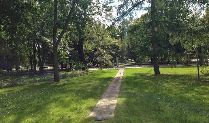 The Ghetto Wall marker in Krasinski Park today