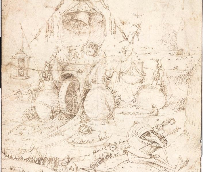 Hieronymus Bosch, Infernal landscape, drawing