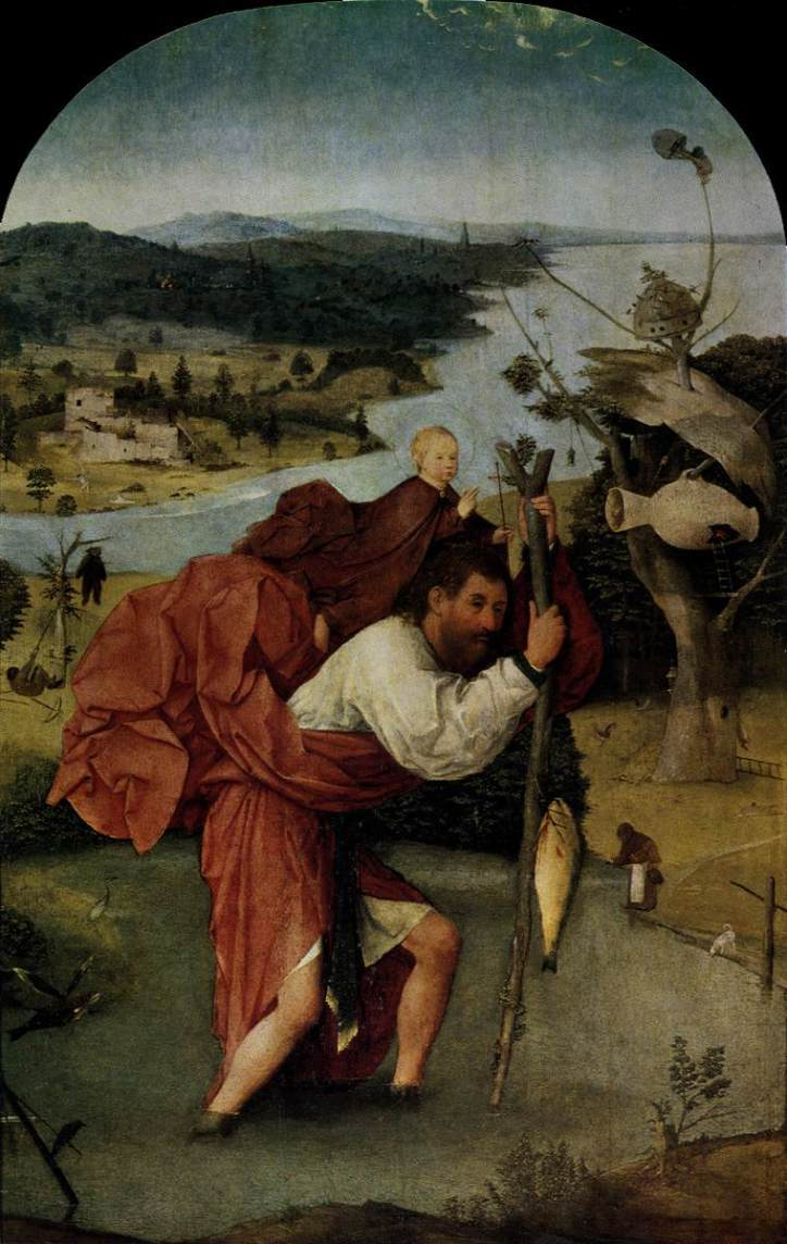 Hieronymus Bosch, Saint Chrisopher Carrying the Christ Child, c1490-1500