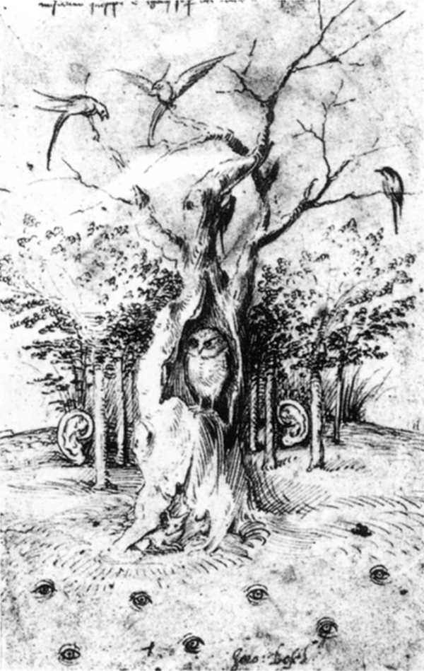 Hieronymus Bosch, The Field has Eyes, the Wood has Ears, drawing