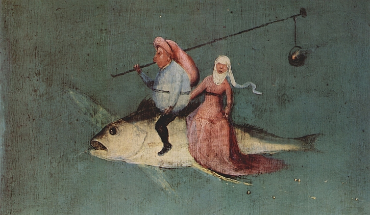 Hieronymus Bosch, The Temptation of St Anthony, detail, left panel