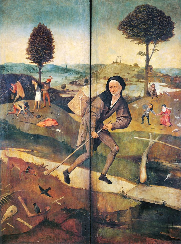 Hieronymus Bosch, The Wayfarer on the closed shutters of The Haywain, 1510-16