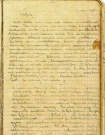 The diary that Helga kept in Vught camp