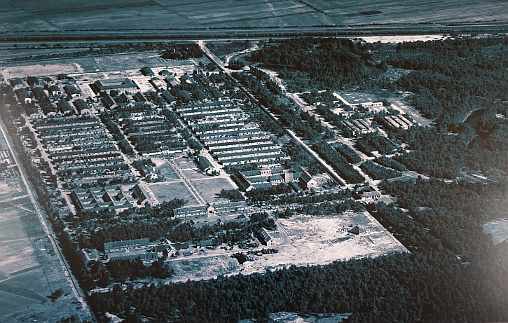 An aerial view of Vught camp during the Second World War