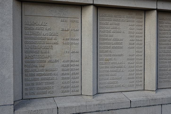 The memorial wall with the names of those executed