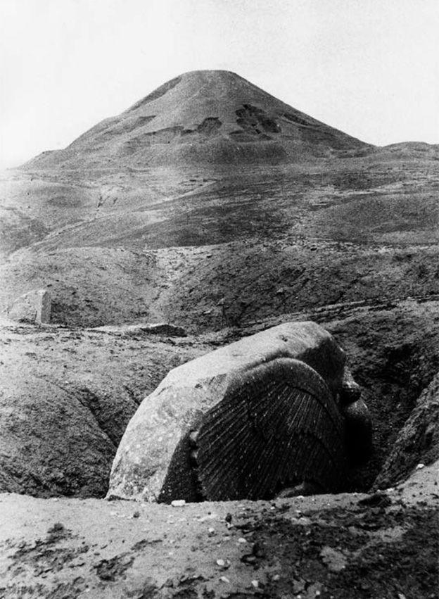 A Lamassu sculpture photographed in 1906 at Nimrud, near Nineveh