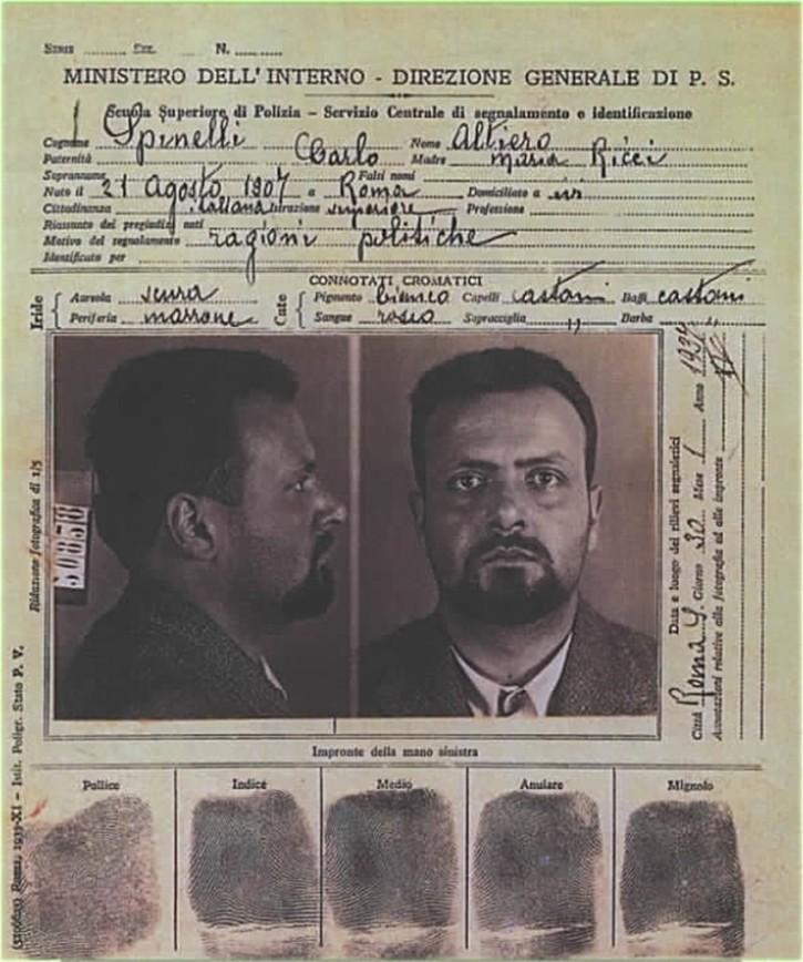 The fascist police file on Altiero Spinelli
