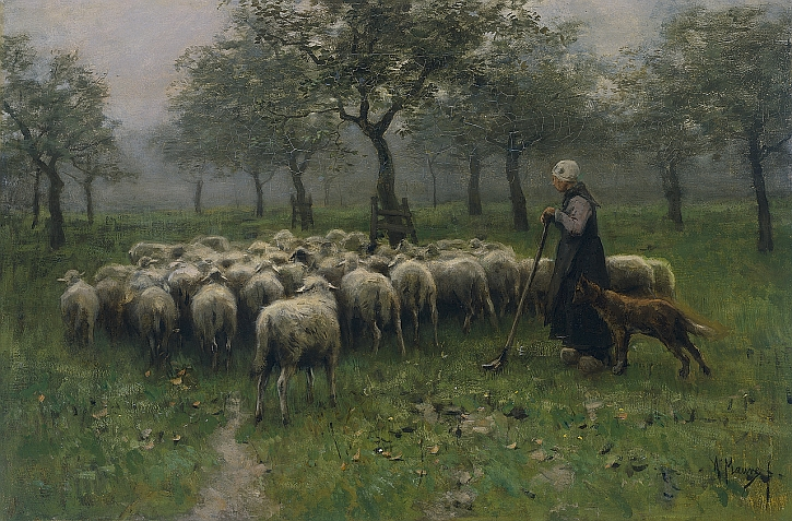Anton Mauve, Shepherdess With a Flock of Sheep, c1870-88
