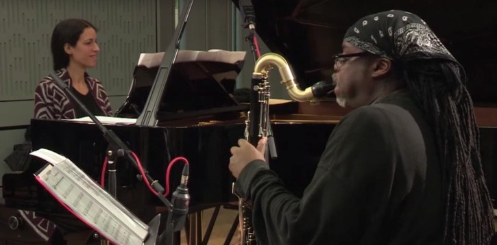 Courtney Pine and Zoe Rahman in the BBC Radio 3 studio