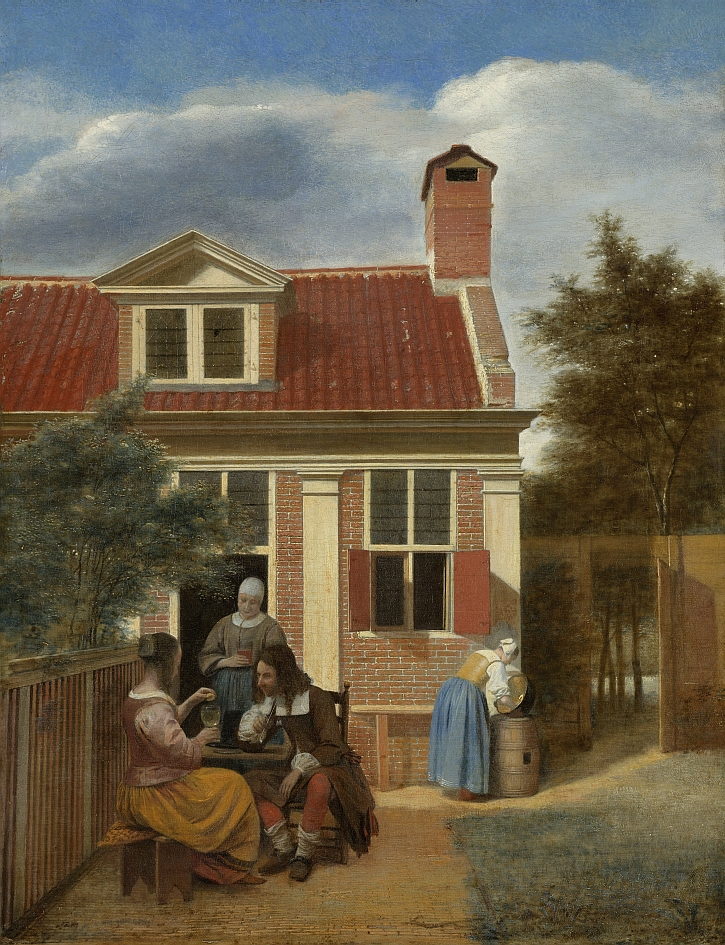 Figures in a Courtyard behind a House, Pieter de Hooch, c. 1663 - c. 1665
